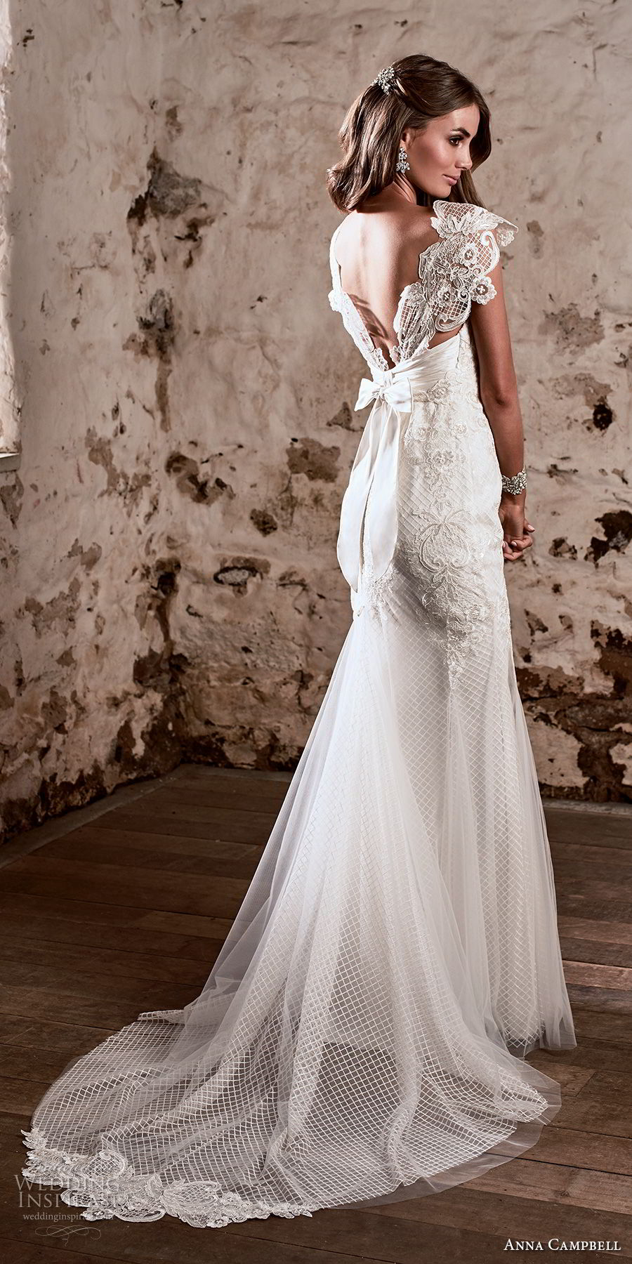 anna campbell 2018 bridal cap sleeves sweetheart neckline heavily embellished bodice romantic fit and flare wedding dress open v back sweep train (4) bv