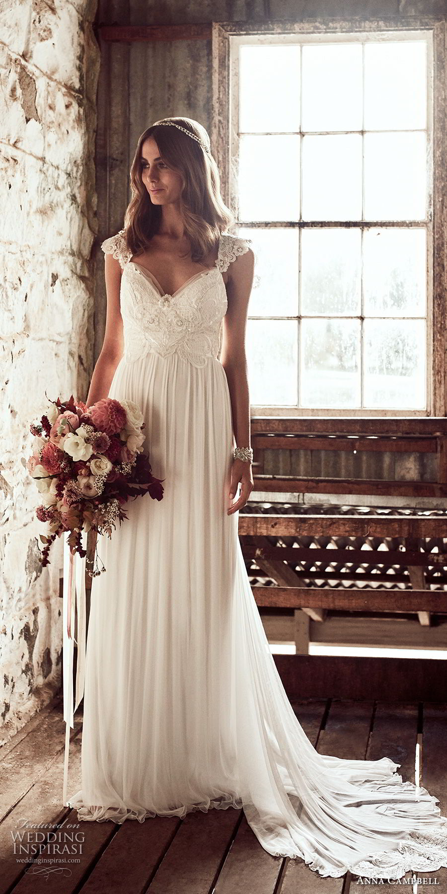 anna campbell 2018 bridal cap sleeves sweetheart neckline heavily embellished bodice romantic soft a  line wedding dress open v back sweep train (3) mv