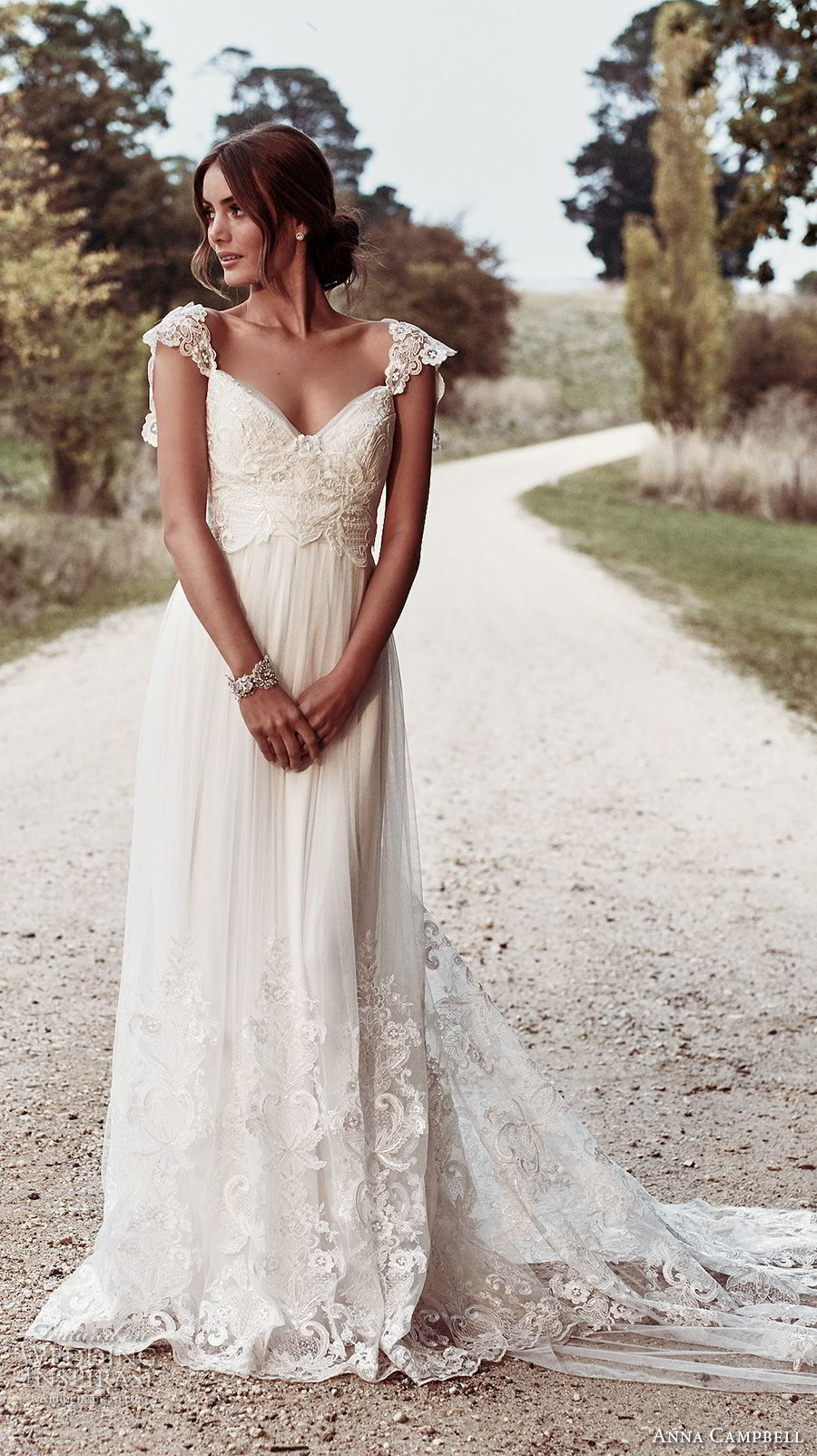 anna campbell 2018 bridal cap sleeves sweetheart neckline heavily embellished bodice romantic soft a  line wedding dress open v back sweep train (5) mv
