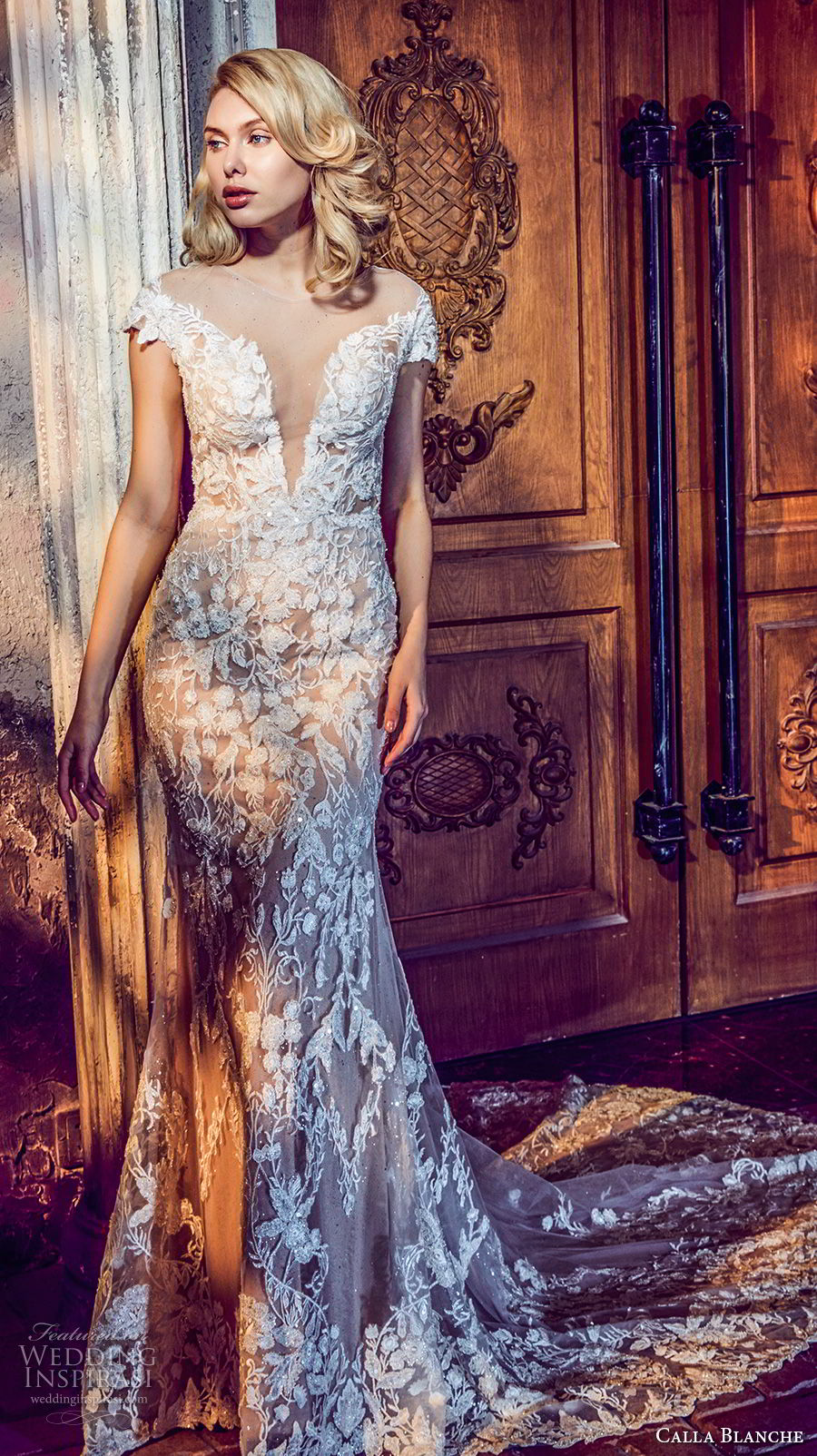 calla blanche fall 2017 bridal cap sleeves sheer jewel deep plunging sweetheart necklne full embellishment elegant fit and flare wedding dress chapel train (81) mv