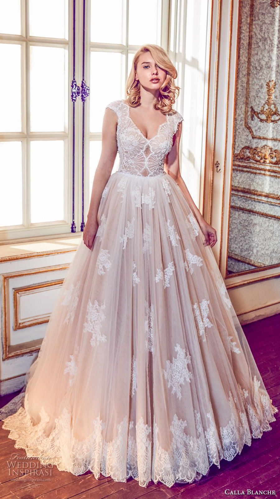 calla blanche fall 2017 bridal cap sleeves v neck heavily embellished bodice romantic blush color a  line wedding dress open v back royal train (43) mv