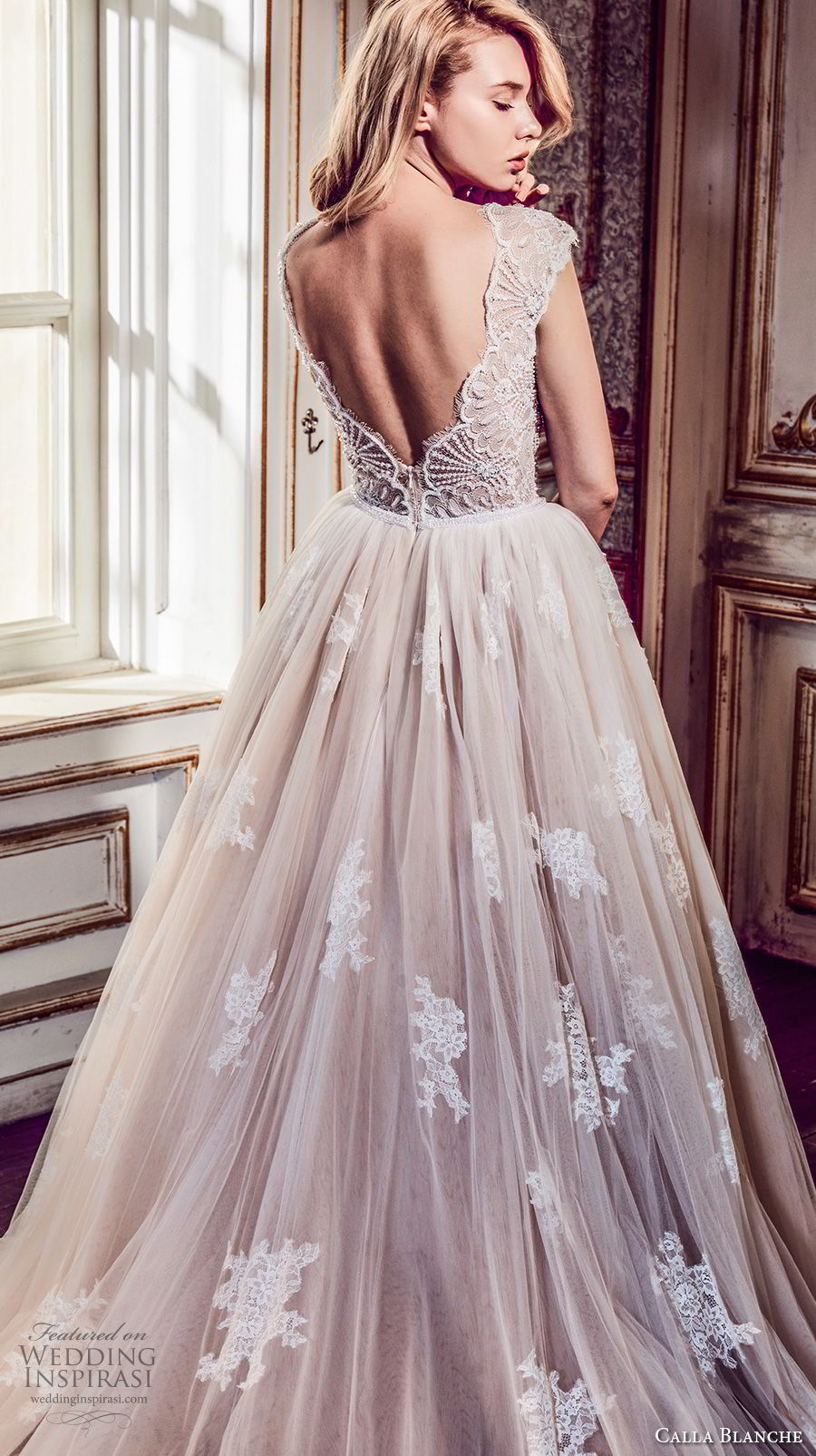calla blanche fall 2017 bridal cap sleeves v neck heavily embellished bodice romantic blush color a  line wedding dress open v back royal train (43) zbv