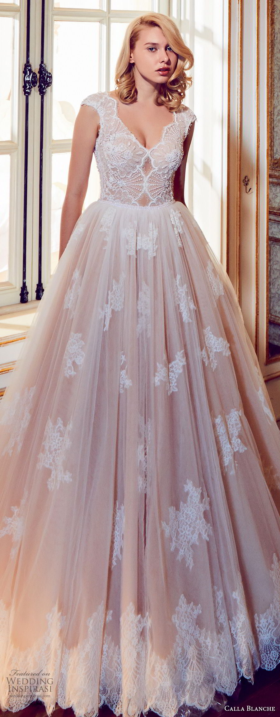 calla blanche fall 2017 bridal cap sleeves v neck heavily embellished bodice romantic blush color a line wedding dress open v back royal train (43) zv