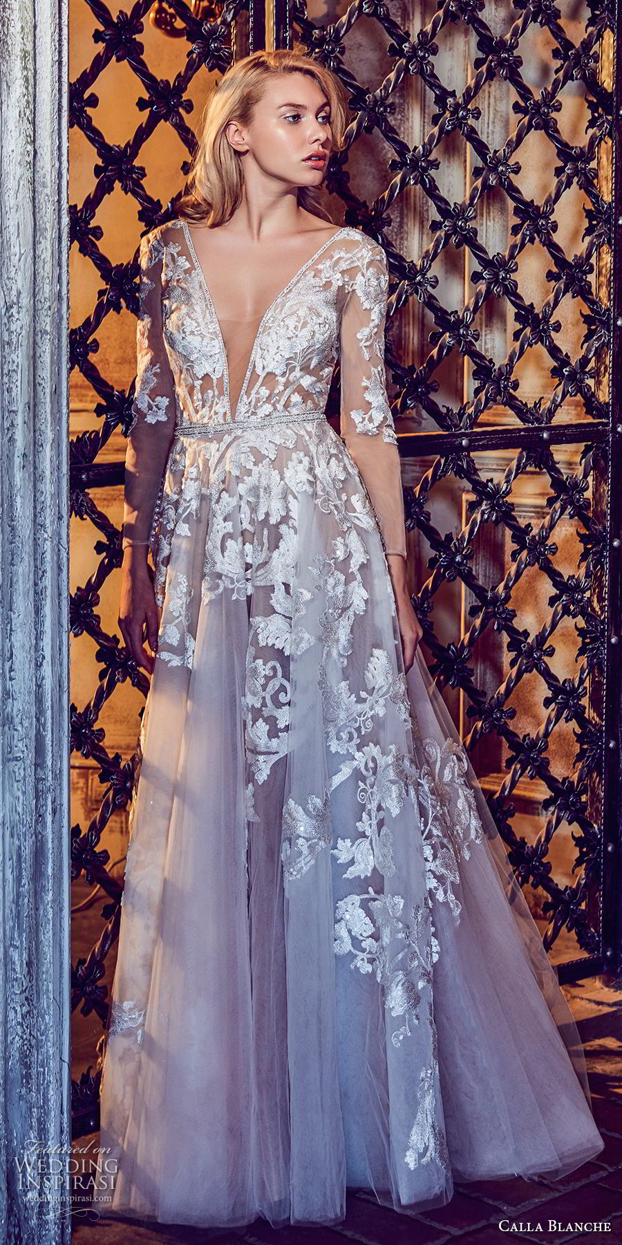 calla blanche fall 2017 bridal long sleeves deep v neck heavily embellished bodice romantic sexy a  line wedding dress sheer button back long train (33) mv