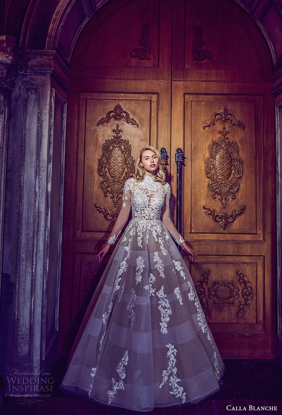 calla blanche fall 2017 bridal long sleeves high neck heavily embellished bodice romantic princess a  line wedding dress keyhole back sweep train (32) mv