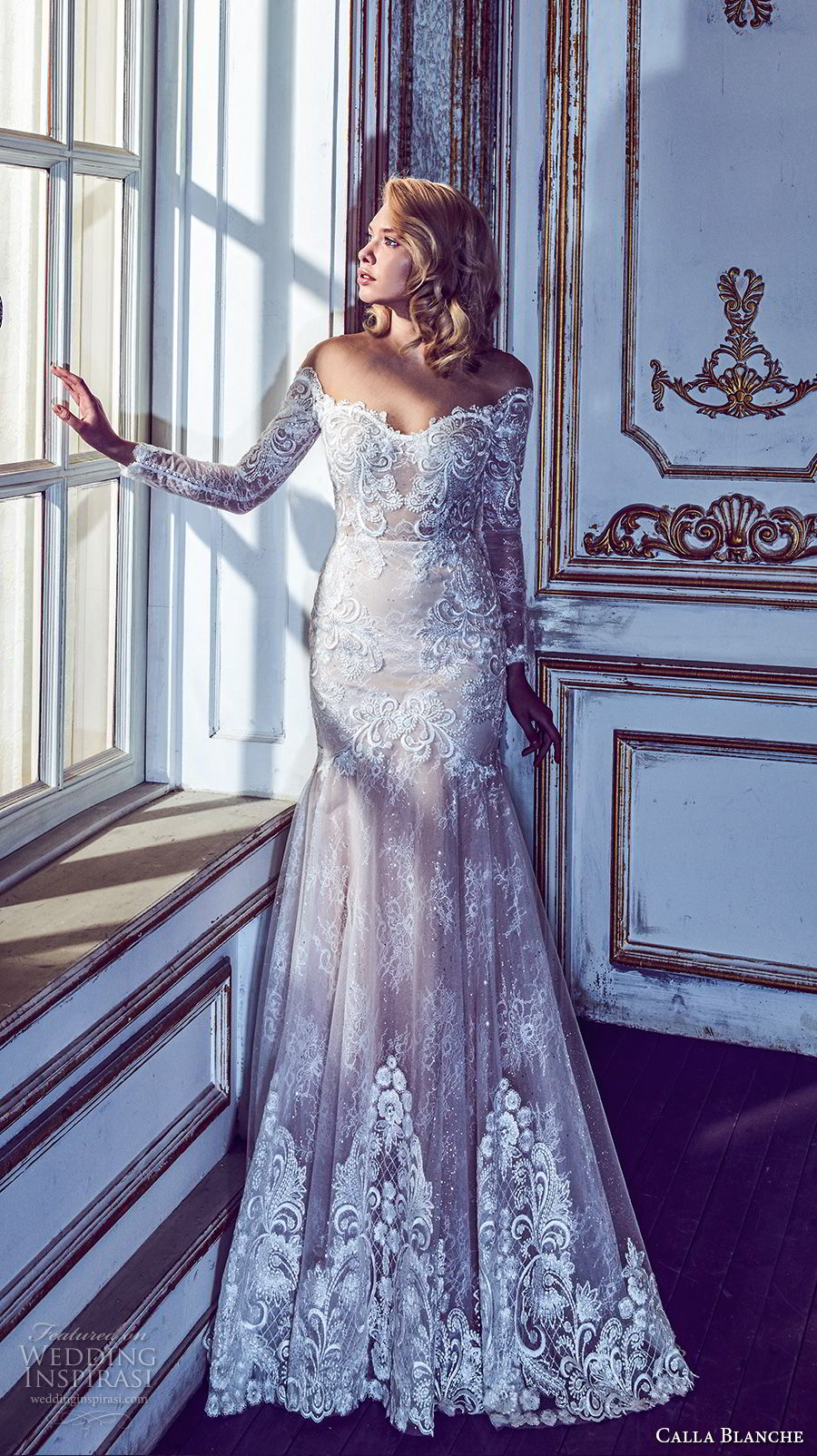 calla blanche fall 2017 bridal long sleeves off the shoulder semi sweetheart neckline full embellishment drop waist elegant a  line wedding dress open back chapel train (54) mv