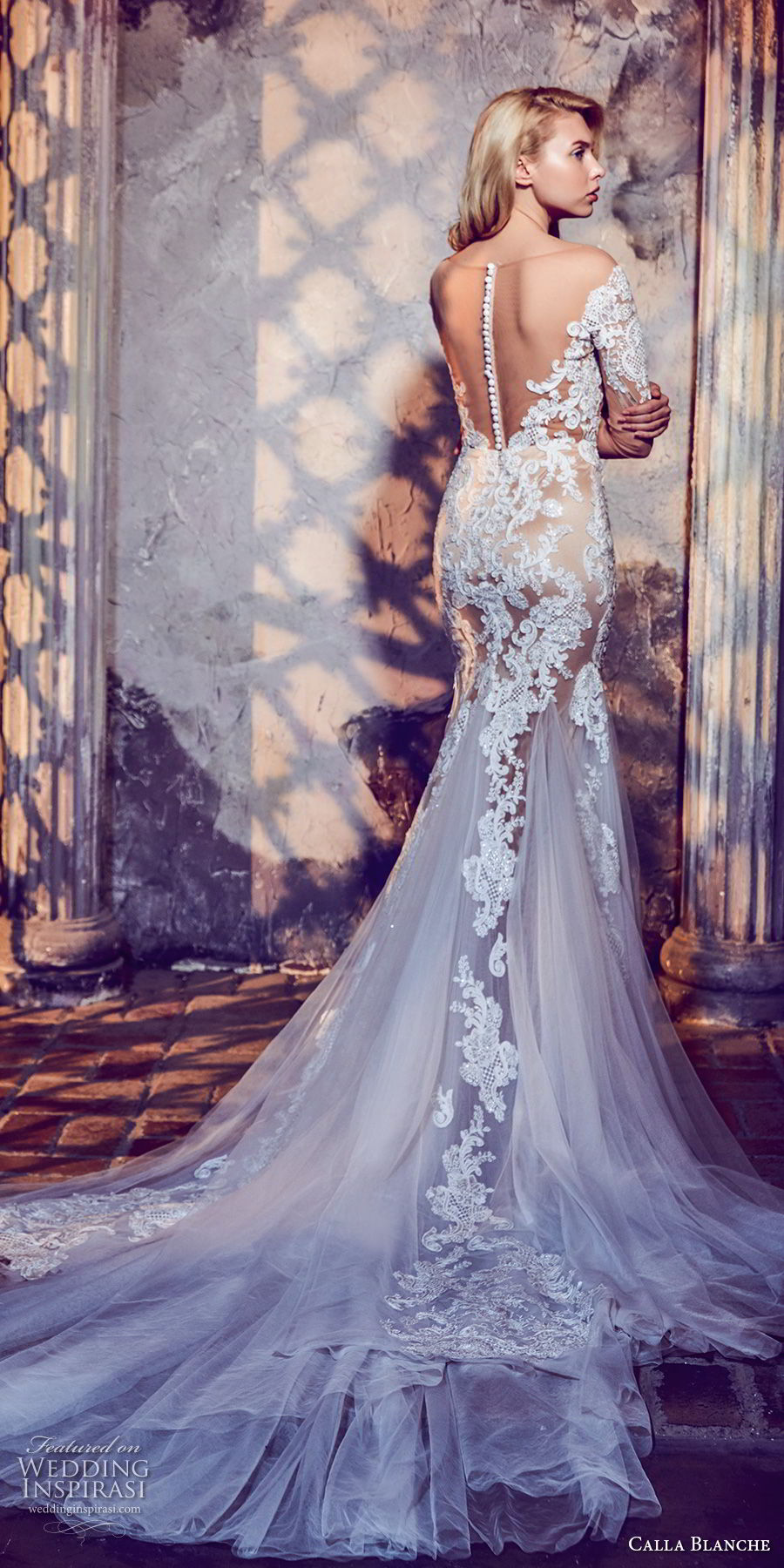 calla blanche fall 2017 bridal long sleeves off the shoulder sweetheart neckline full embellishment elegant mermaid wedding dress sheer button back long train (46) bv