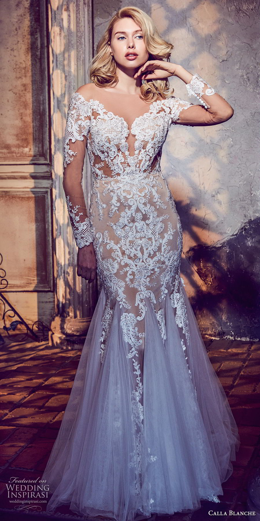 calla blanche fall 2017 bridal long sleeves off the shoulder sweetheart neckline full embellishment elegant mermaid wedding dress sheer button back long train (46) mv