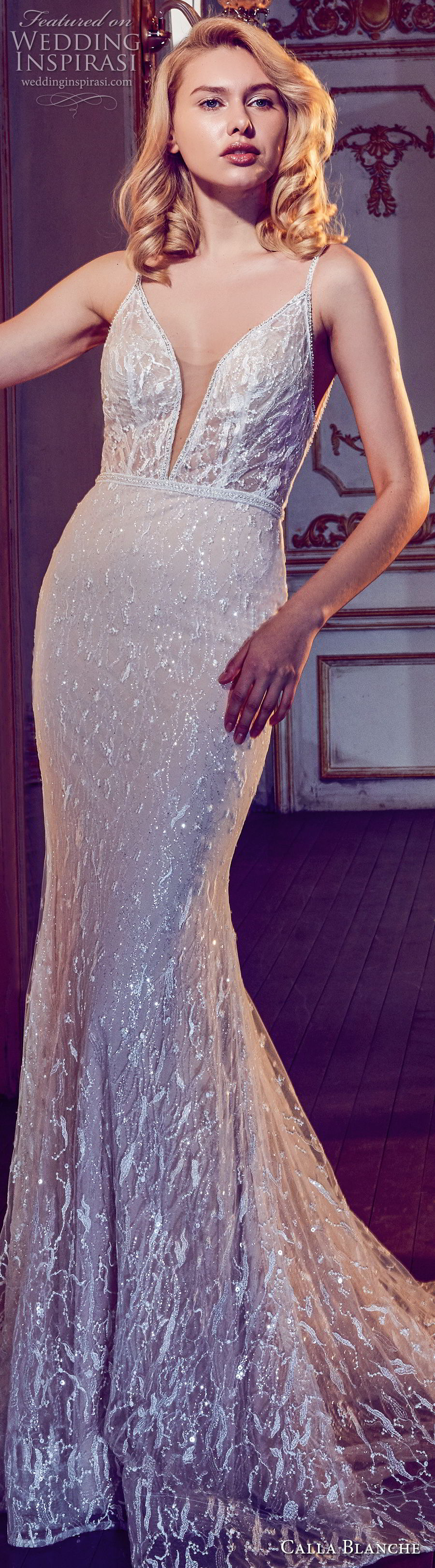 calla blanche fall 2017 bridal sleeveless deep plunging v neck full embellishment elegant sheath fit and flare wedding dress open v back short train (83) zv