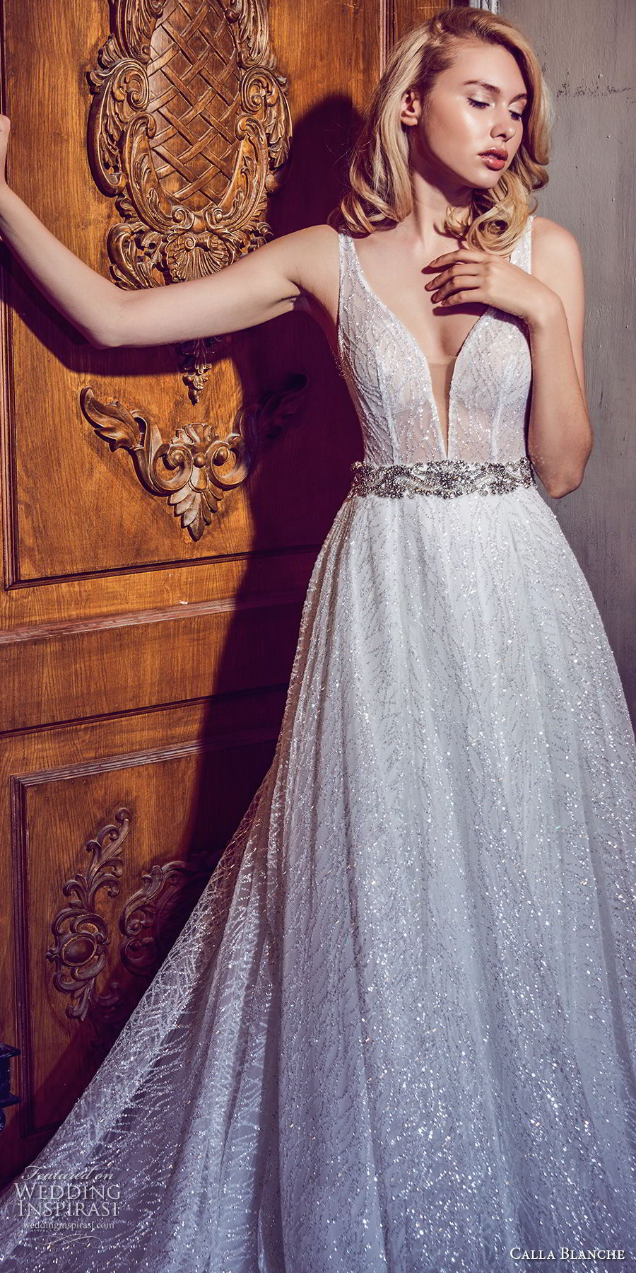 calla blanche fall 2017 bridal sleeveless deep plunging v neck light embellishement romantic a line wedding dress open v back chapel train (82) zv