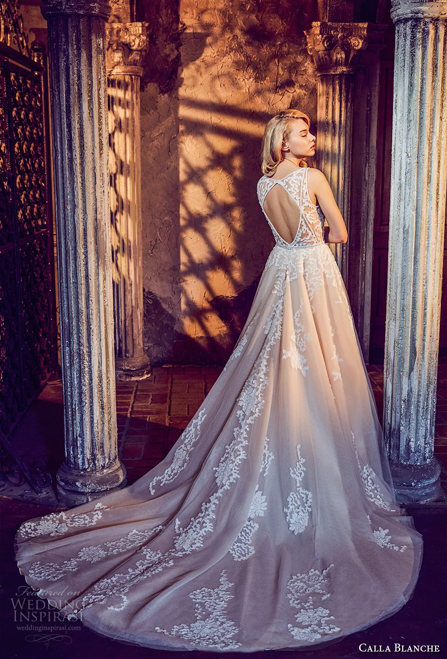 calla blanche fall 2017 bridal sleeveless deep v neck heavily embellished bodice romantic a line wedding dress keyhole back chapel train (39) bv