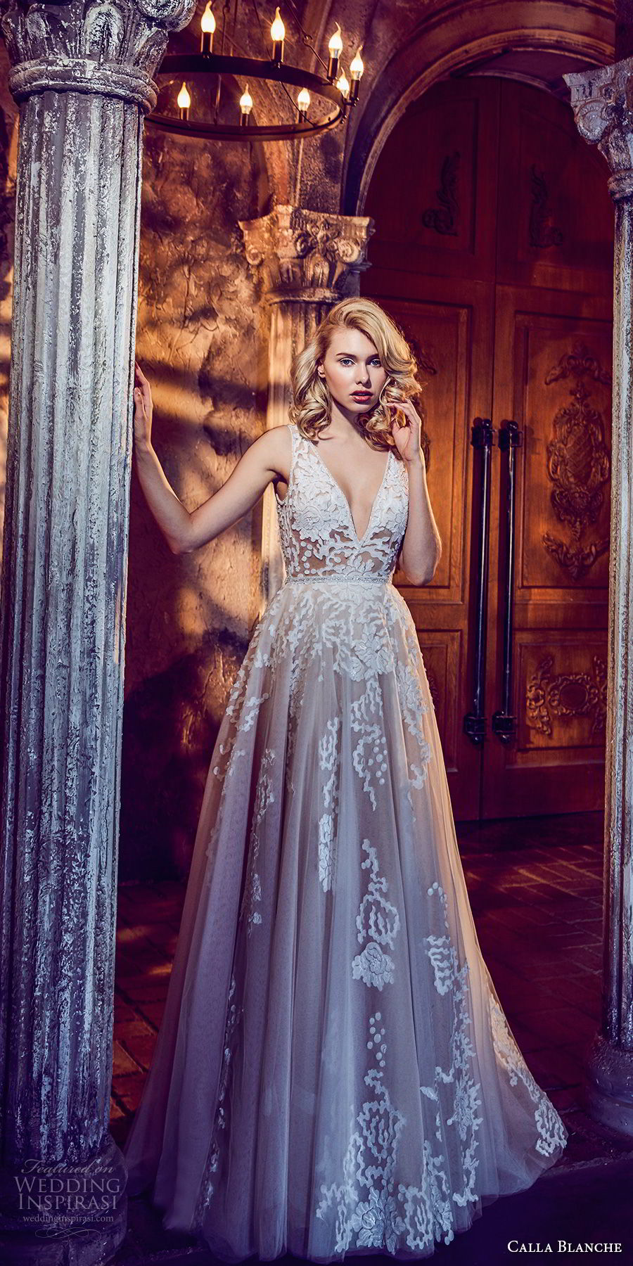 calla blanche fall 2017 bridal sleeveless deep v neck heavily embellished bodice romantic a  line wedding dress keyhole back chapel train (39) mv