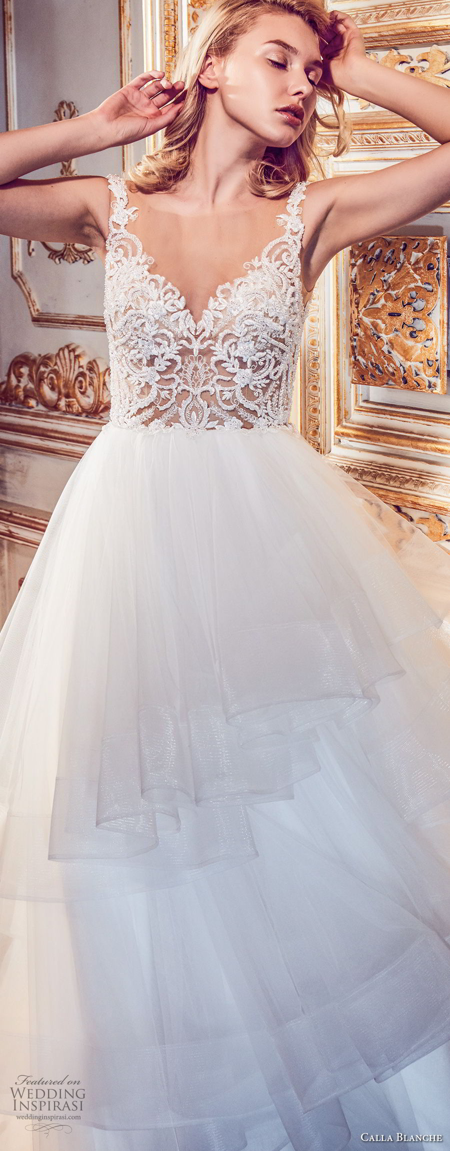 calla blanche fall 2017 bridal sleeveless sheer boat v neck heavily embellished bodice tulle layered skirt romantic a  line wedding dress open v back chapel train (62) zv