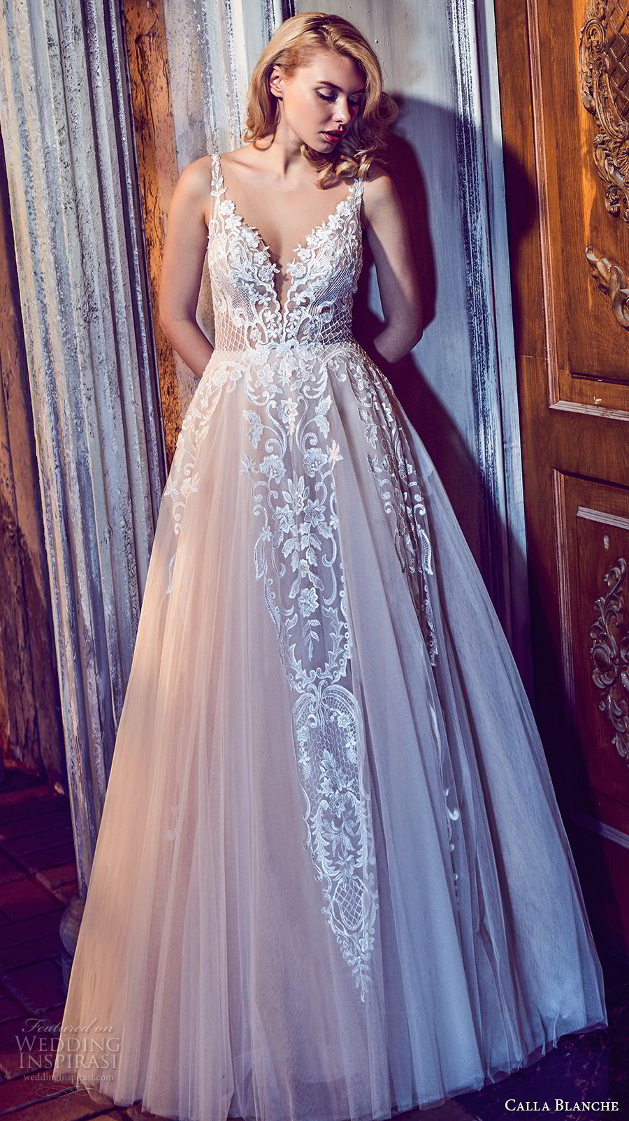 calla blanche fall 2017 bridal sleeveless thin strap deep plunging sweetheart neckline heavily embellished bodice romantic a line weddng dress pockets open back royal train (36) mv