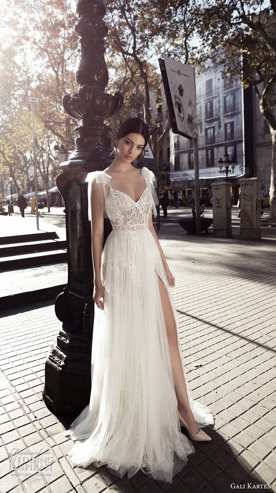 gali karten 2017 bridal cap sleeves thin strap sweetheart neckline heavily embellished bodice side slit tulle skirt romantic a  line weddind dress open v back sweep train (5) mv