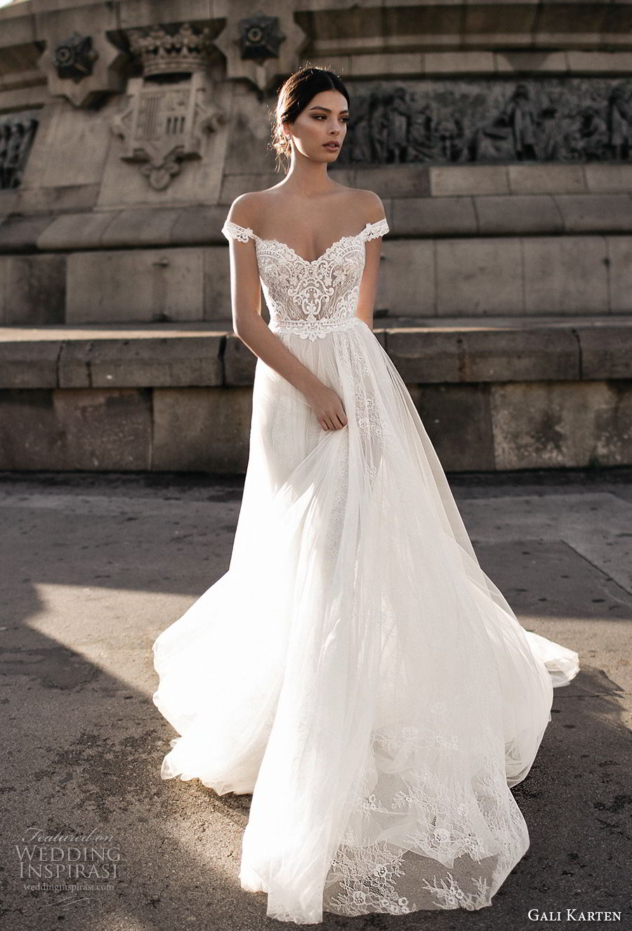 gali karten 2017 bridal off the shoulder sweetheart neckline heavily embellished bodice tulle skirt romantic soft a  line wedding dress open v back chapel train (3) mv
