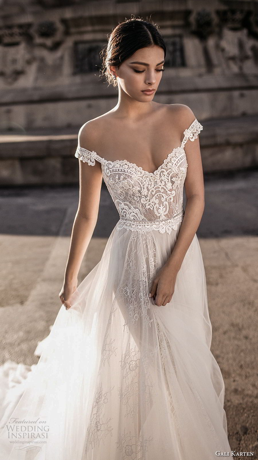 gali karten 2017 bridal off the shoulder sweetheart neckline heavily embellished bodice tulle skirt romantic soft a  line wedding dress open v back chapel train (3) zv