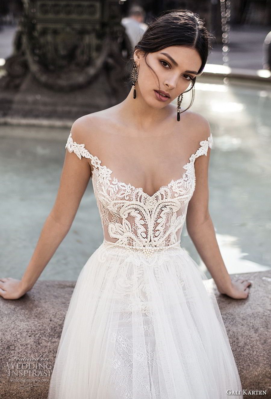 gali karten 2017 bridal off the shoulder v neck heavily embellished bodice tulle skirt romantic a  line wedding dress sweep train (1) zv