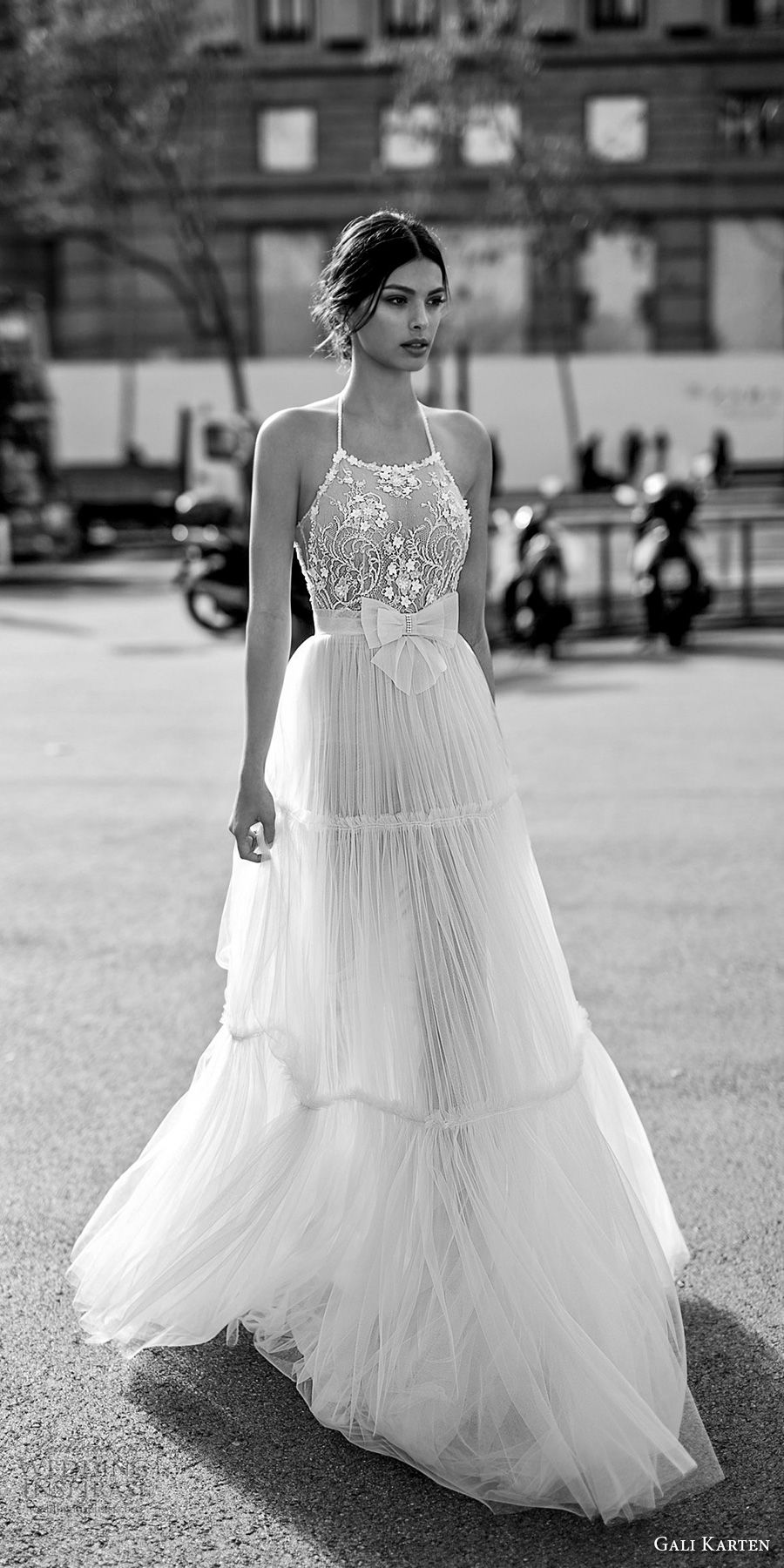 gali karten 2017 bridal sleeveless halter neck heavily embellished bodice romantic a line wedding dress open strap back sweep train (2) mv