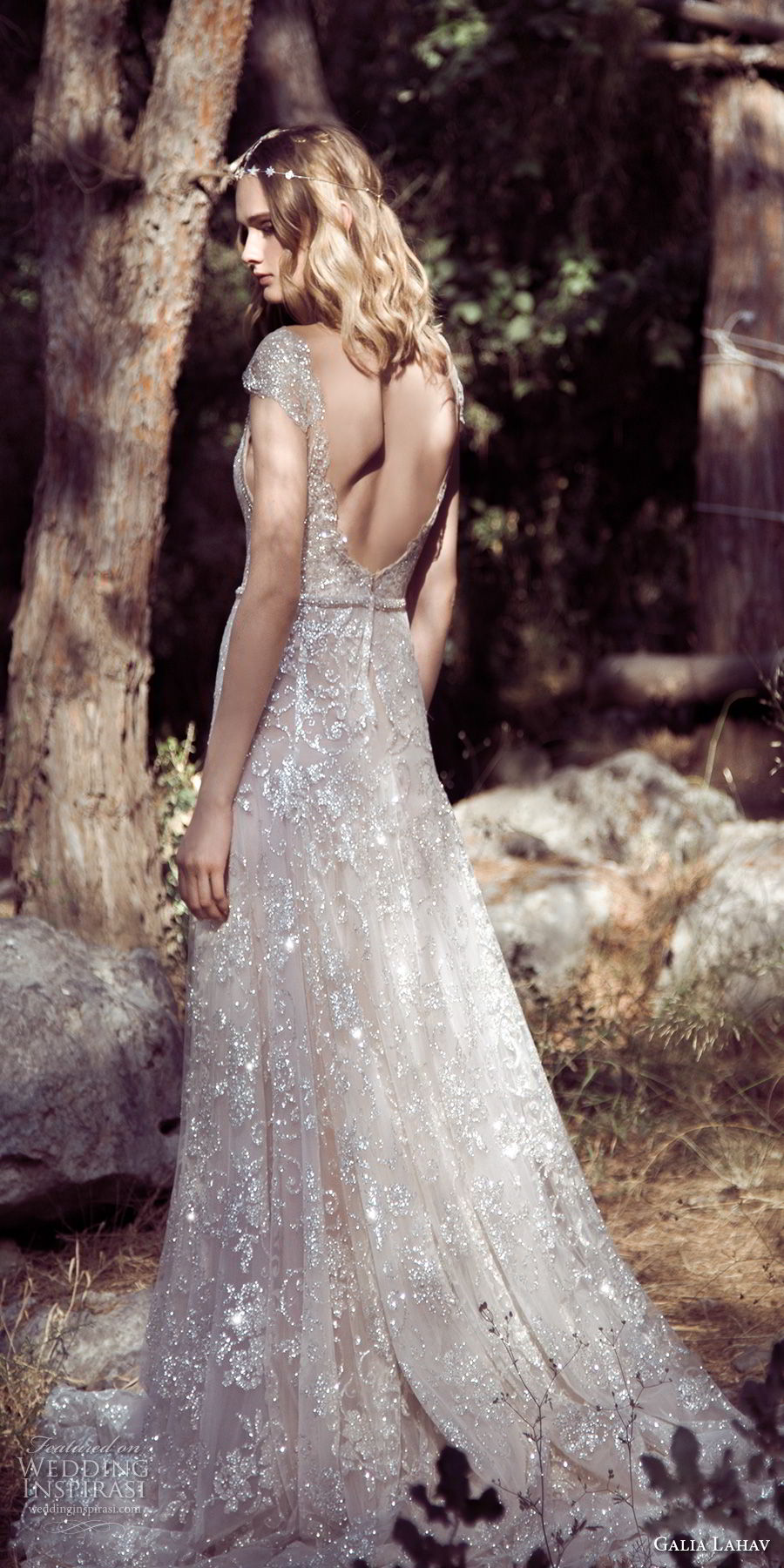 galia lahav gala 4 2018 bridal cap sleeves deep plunging v neck full embellishment elegant sexy a line wedding dress open scoop back chapel train (903) bv