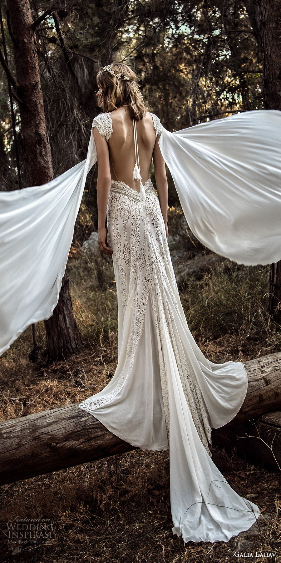 galia lahav gala 4 2018 bridal cap sleeves deep v neck full embellishment elegant sexy side slit sheath wedding dress sweep train (906) bv