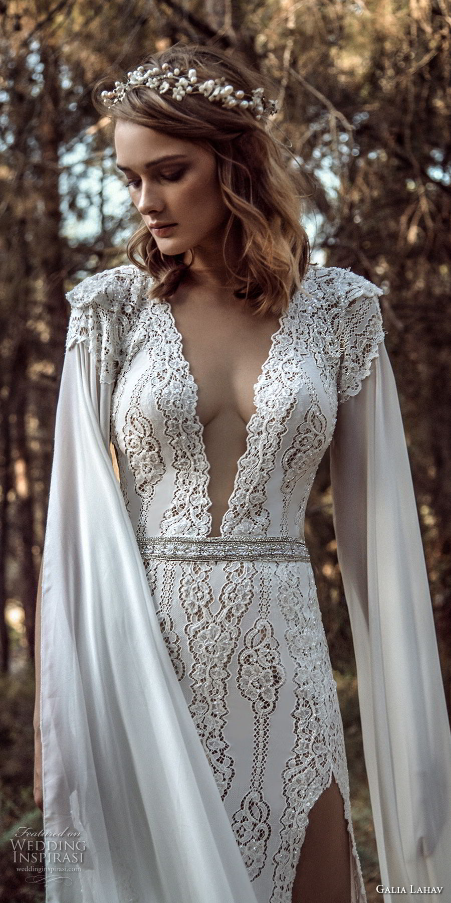 galia lahav gala 4 2018 bridal cap sleeves deep v neck full embellishment elegant sexy side slit sheath wedding dress sweep train (906) zv
