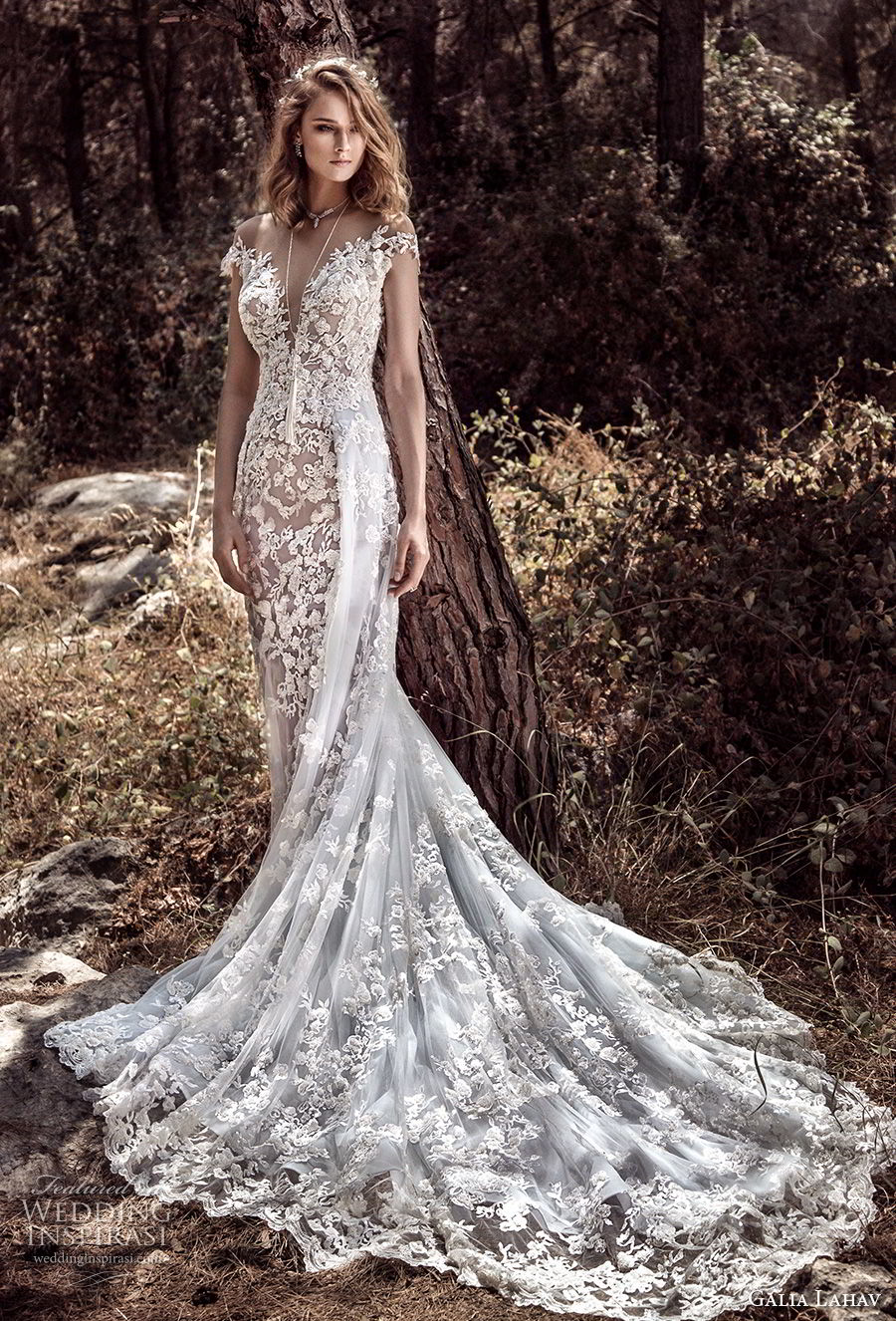 galia lahav gala 4 2018 bridal cap sleeves off the shoulder deep plungng sweetheart neck full embellishment elegant soft a line wedding dress open back chapel train (901) mv