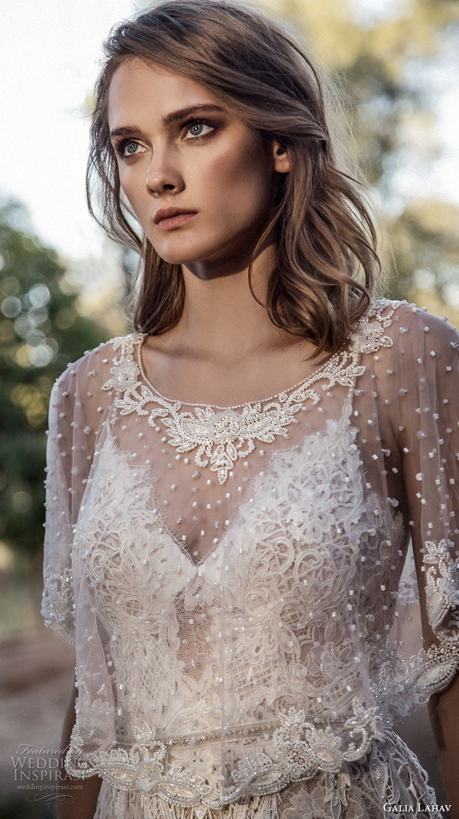 galia lahav gala 4 2018 bridal jewel neck sheer beaded capelet (914) mv