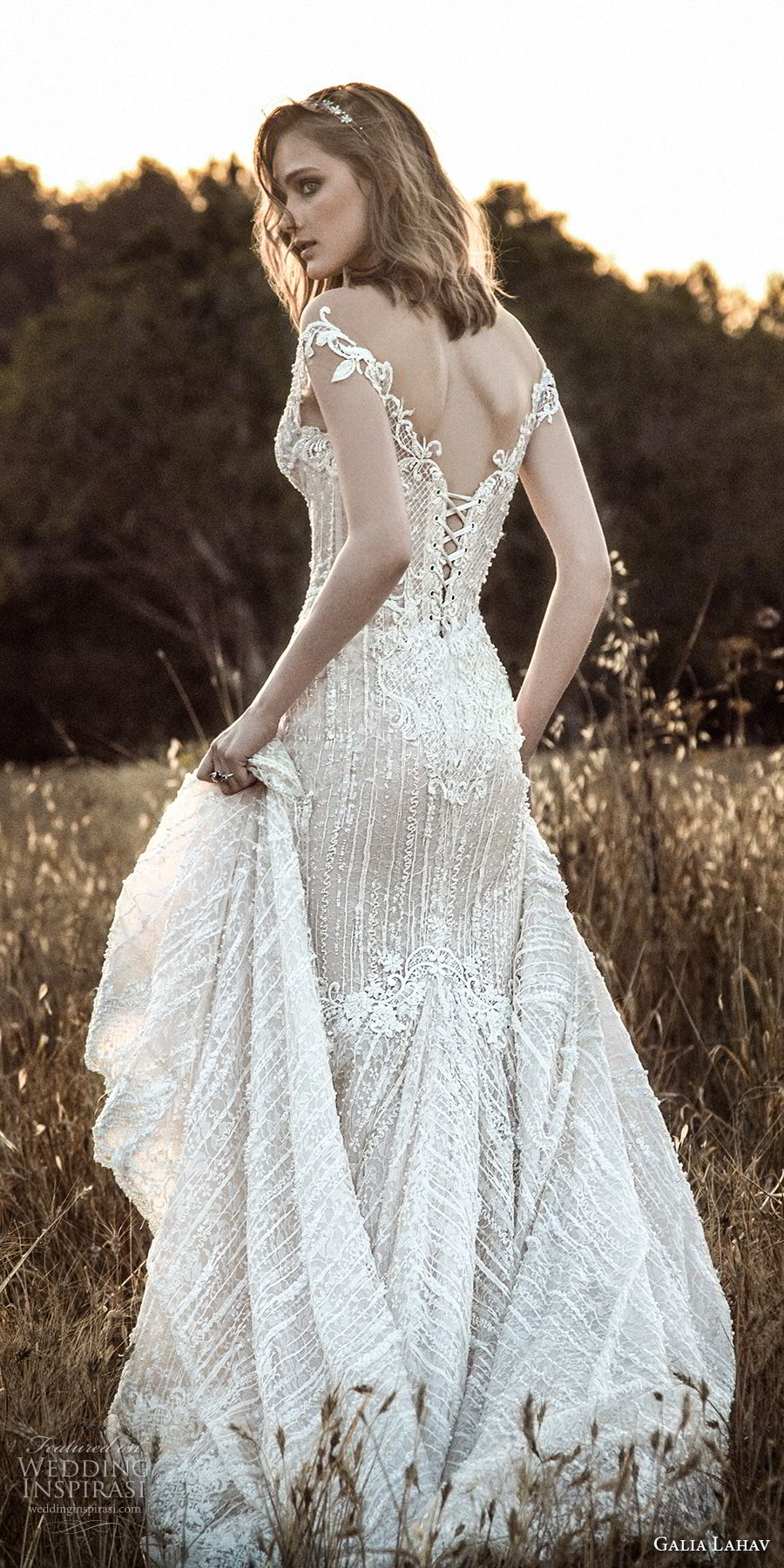 galia lahav gala 4 2018 bridal off the shoulder sweetheart neckline full embellishment elegant mermaid wedding dress mid v back chapel train (909) lv bv