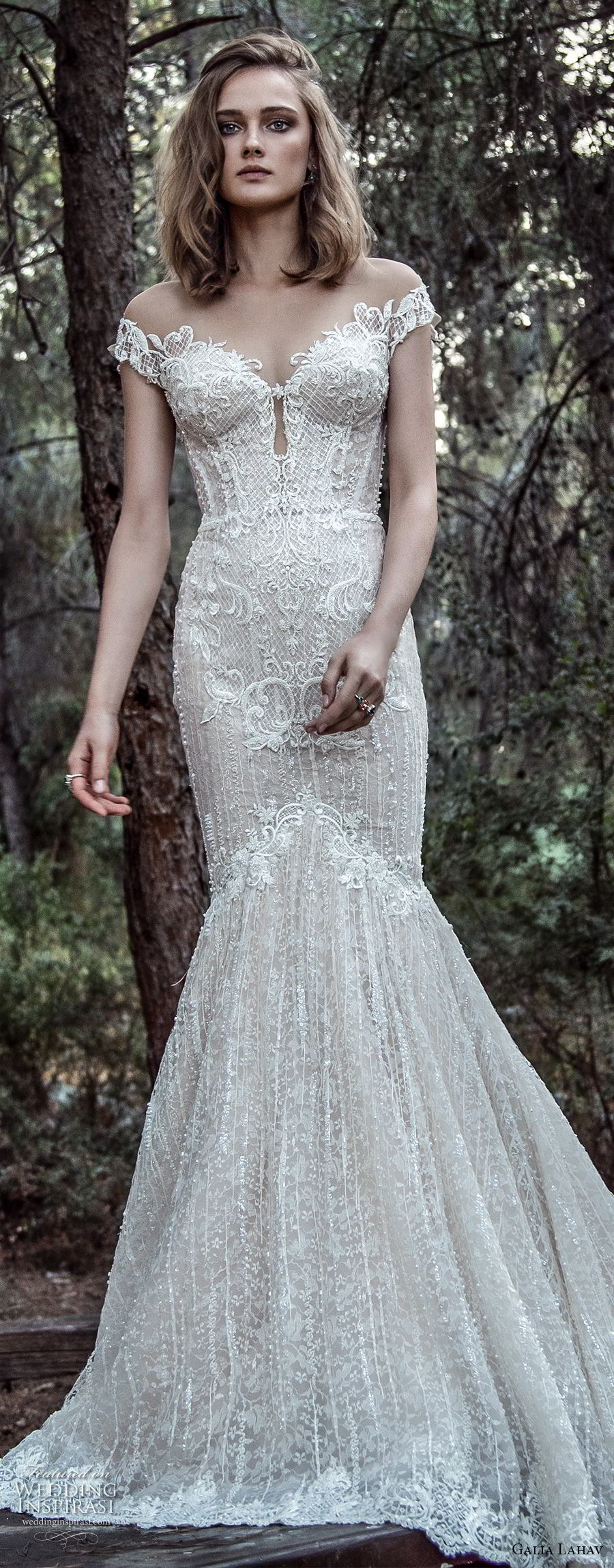 galia lahav gala 4 2018 bridal off the shoulder sweetheart neckline full embellishment elegant mermaid wedding dress mid v back chapel train (909) lv zv