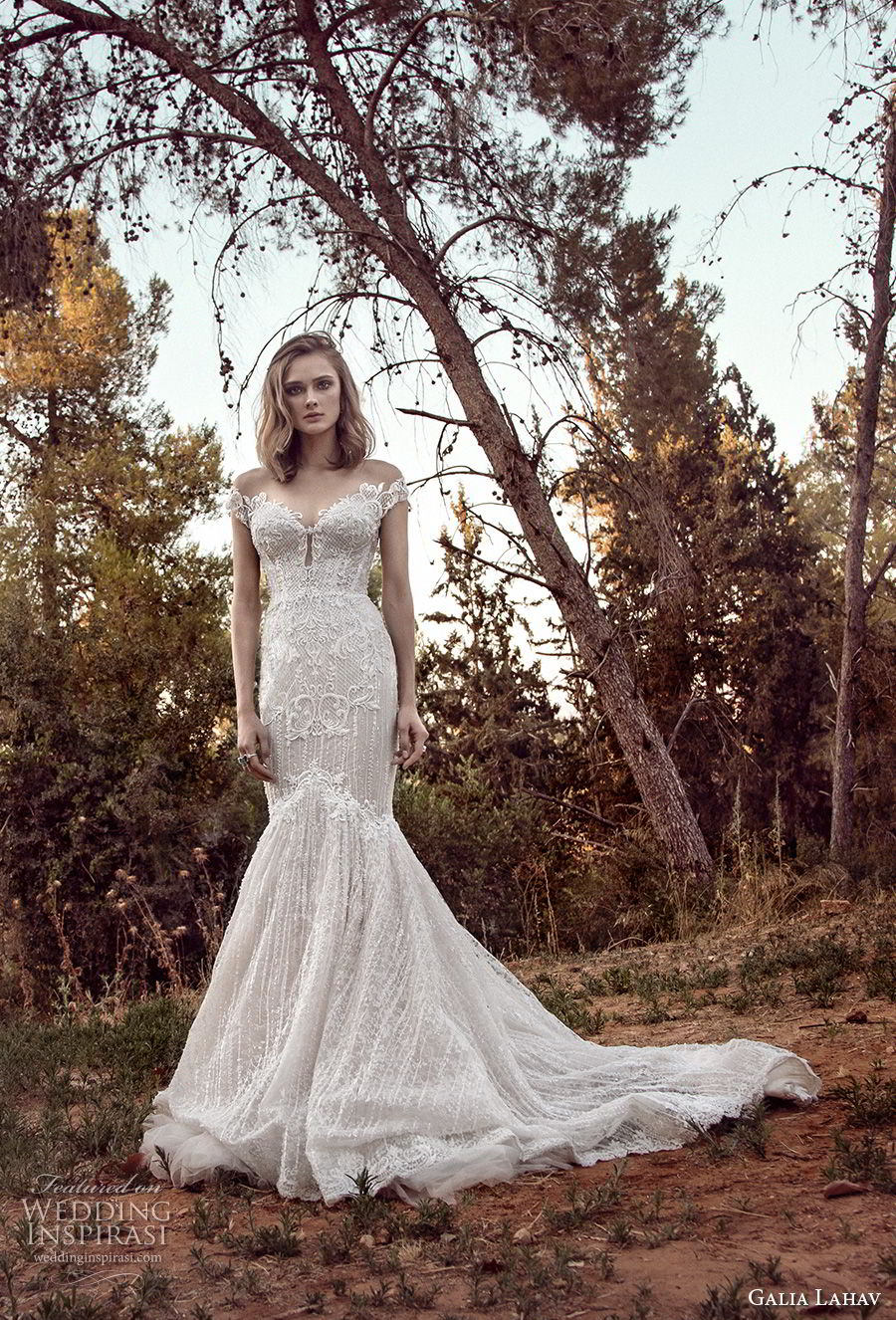 galia lahav gala 4 2018 bridal off the shoulder sweetheart neckline full embellishment elegant mermaid wedding dress mid v back chapel train (909) mv
