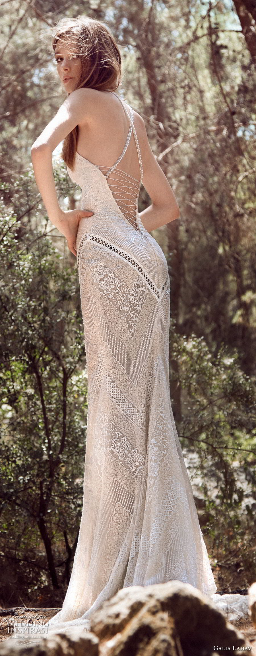 galia lahav gala 4 2018 bridal sleeveless halter jewel neck full embellishment elegant sheath wedding dress open low back short train (910) bv
