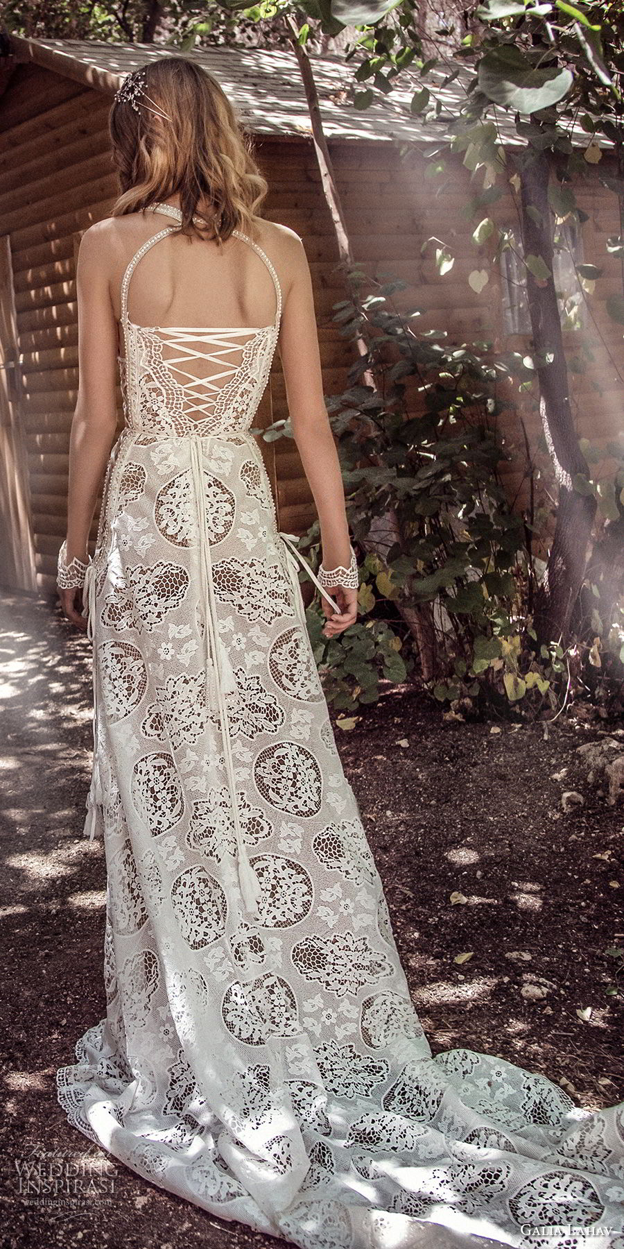 galia lahav gala 4 2018 bridal sleeveless halter neck full embellishment elegant bohemian soft a  line wedding dress mid strap back short train (905) bv