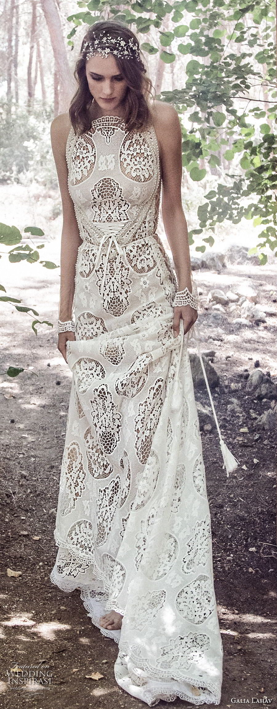 galia lahav gala 4 2018 bridal sleeveless halter neck full embellishment elegant bohemian soft a line wedding dress mid strap back short train (905) mv