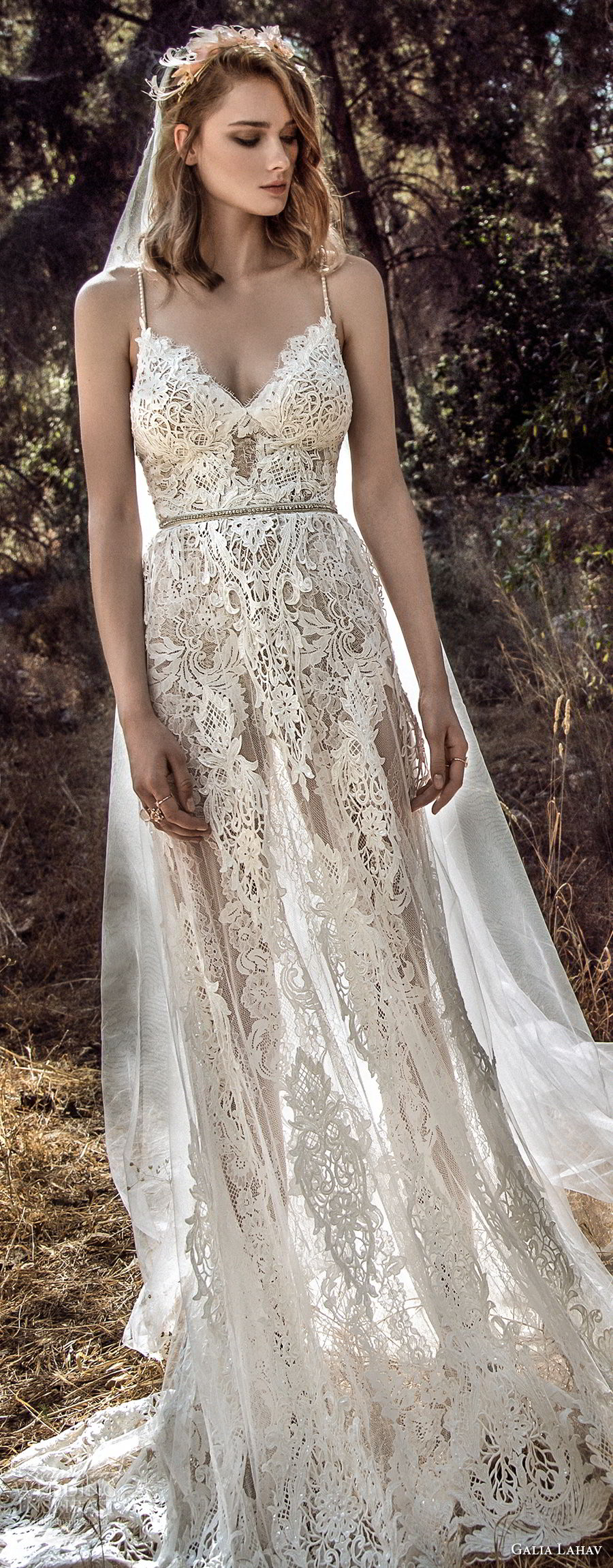 galia lahav gala 4 2018 bridal sleeveless spaghetti strap sweetheart neckline full embellishment romantic soft a  line wedding dress open back sweep train (911) lv