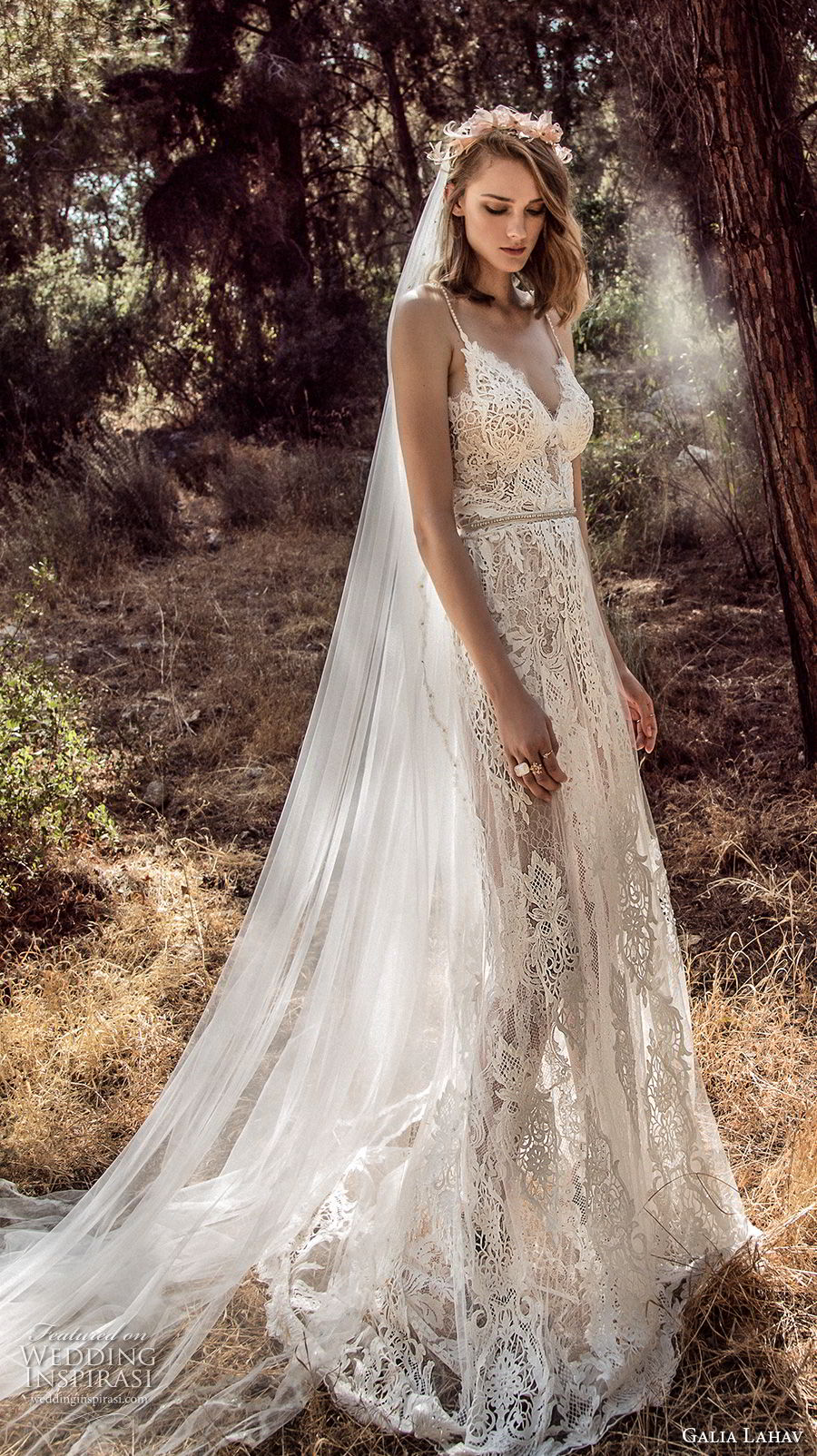 galia lahav gala 4 2018 bridal sleeveless spaghetti strap sweetheart neckline full embellishment romantic soft a line wedding dress open back sweep train (911) mv