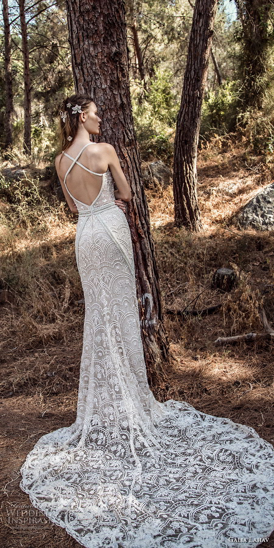 galia lahav gala 4 2018 bridal sleeveless thin strap v neck full embellishment elegant fit and flare mermaid wedding dress open strap back chapel train (907) bv