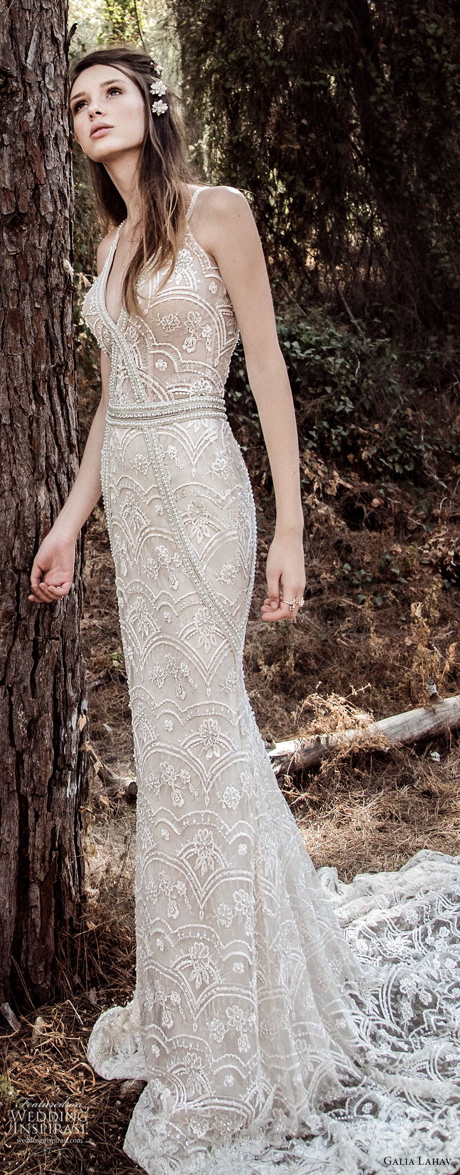 galia lahav gala 4 2018 bridal sleeveless thin strap v neck full embellishment elegant fit and flare mermaid wedding dress open strap back chapel train (907) lv