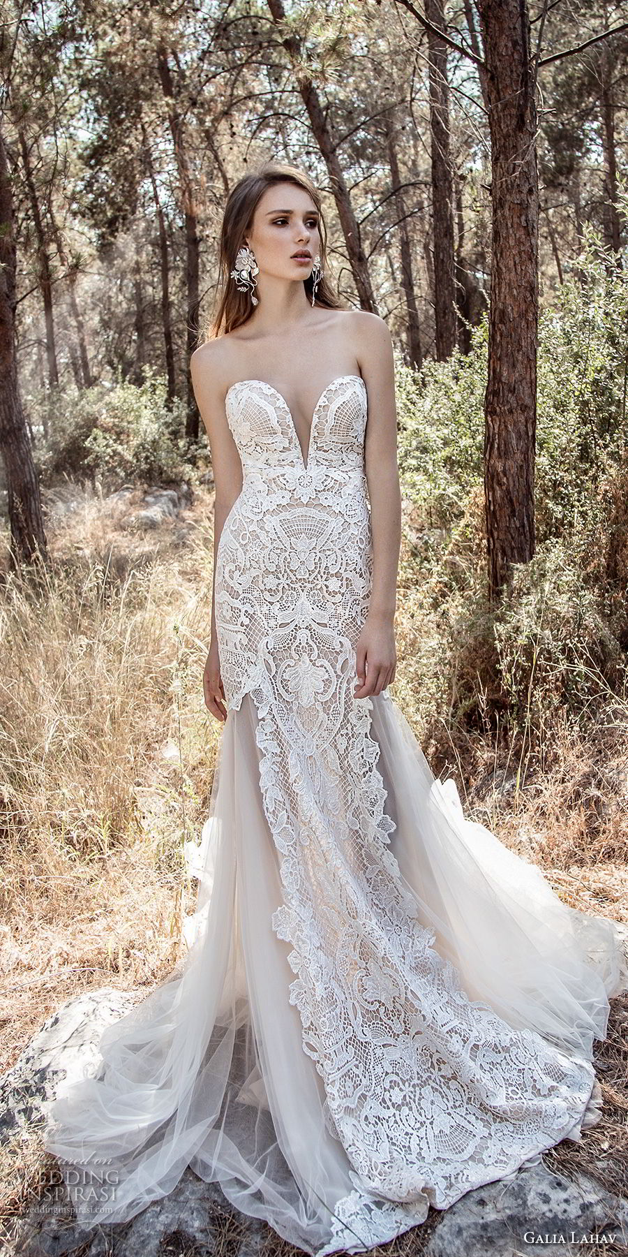 galia lahav gala 4 2018 bridal strapless deep plunging sweetheart neckline full embellishment elegant drop waist a line wedding dress open low back chapel train (912) mv