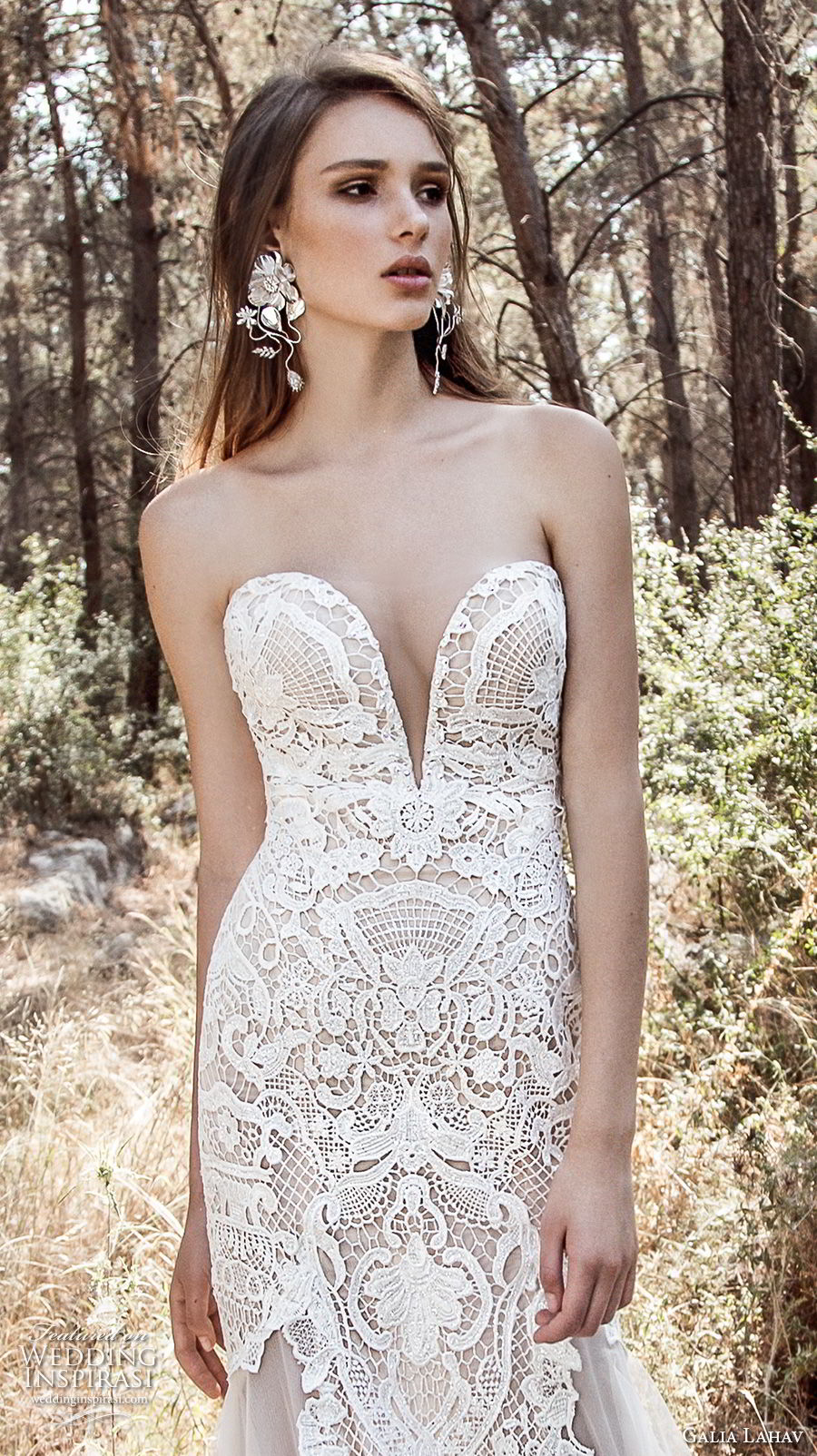 galia lahav gala 4 2018 bridal strapless deep plunging sweetheart neckline full embellishment elegant drop waist a line wedding dress open low back chapel train (912) zv