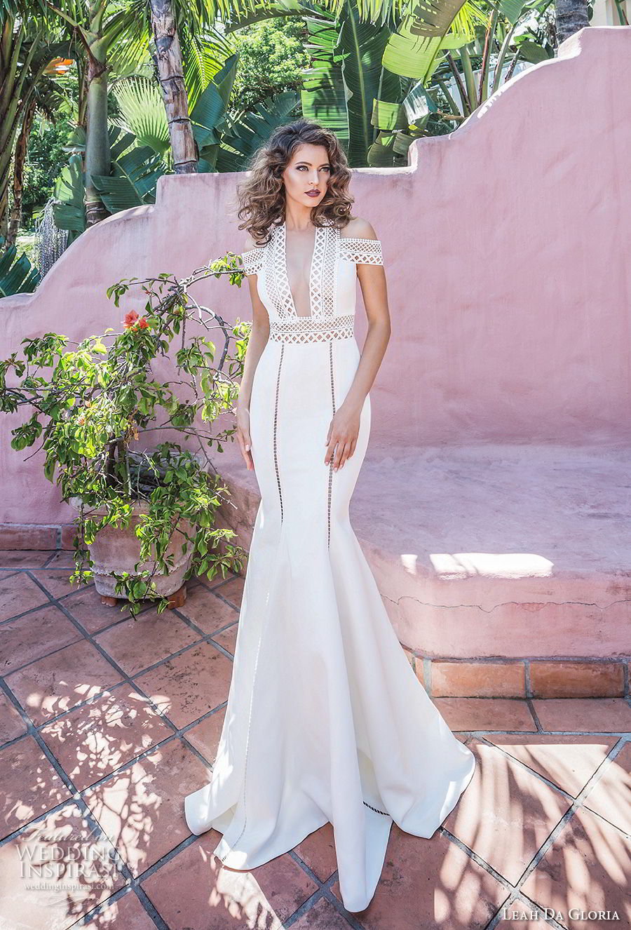 leah da gloria 2017 bridal cold shoulders v neck heavily embellished bodice elegant fit and flare wedding dress sweep train (fiffany) mv