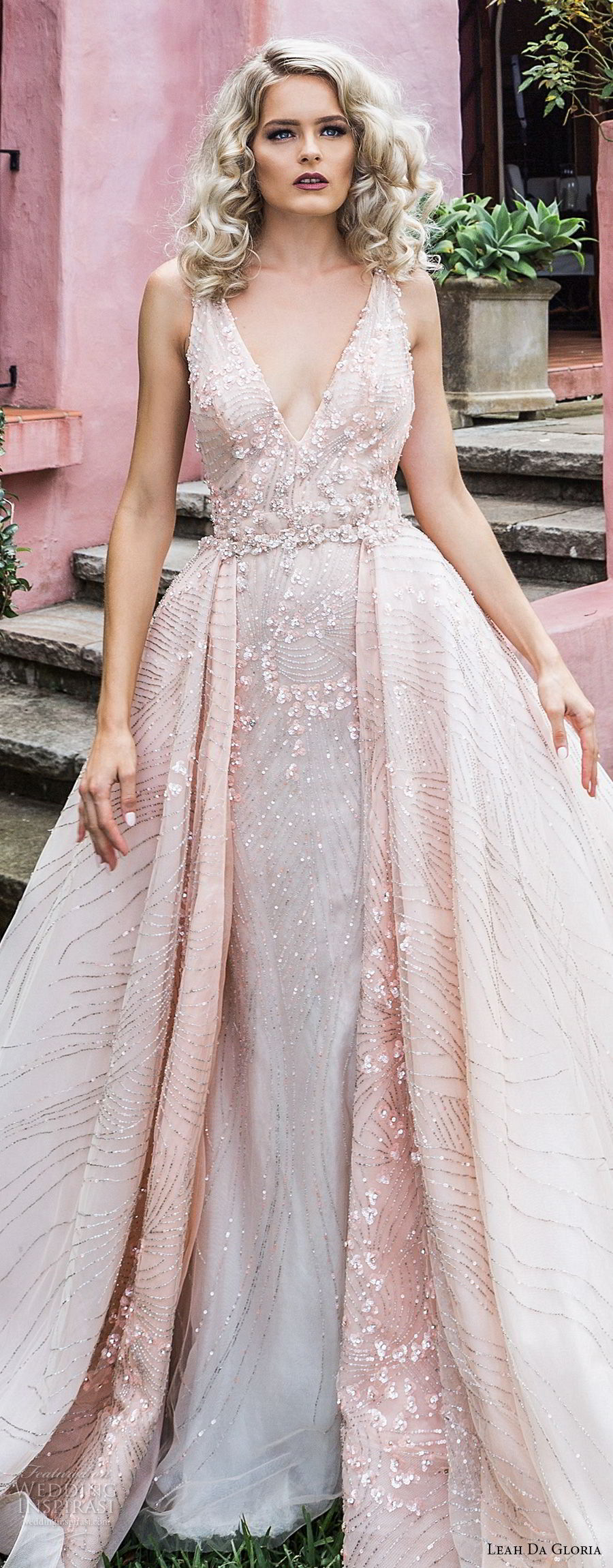leah da gloria 2017 bridal sleeveless deep v neck full embellishment romantic princess pink ball gown a  line wedding dress royal train (laura) zv