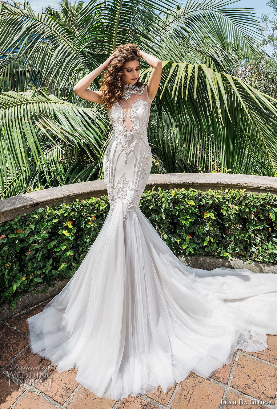 leah da gloria 2017 bridal sleeveless illusion high neck deep plunging sweetheart neckline heavily embellished bodice glamorous mermaid wedding dress long train (celine) mv