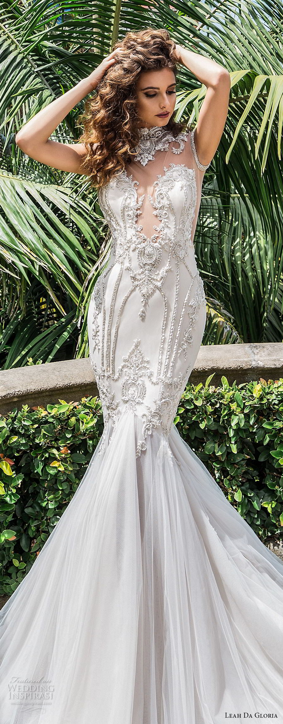 leah da gloria 2017 bridal sleeveless illusion high neck deep plunging sweetheart neckline heavily embellished bodice glamorous mermaid wedding dress long train (celine) zv
