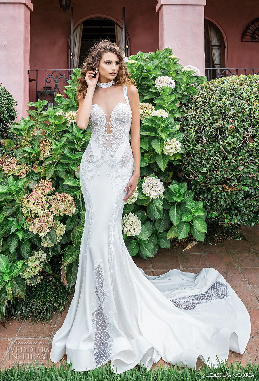 leah da gloria 2017 bridal sleeveless strap deep plunging sweetheart neckline heavily embellished bodice elegant fit and flare mermaid wedding dress chapel train (romina) mv