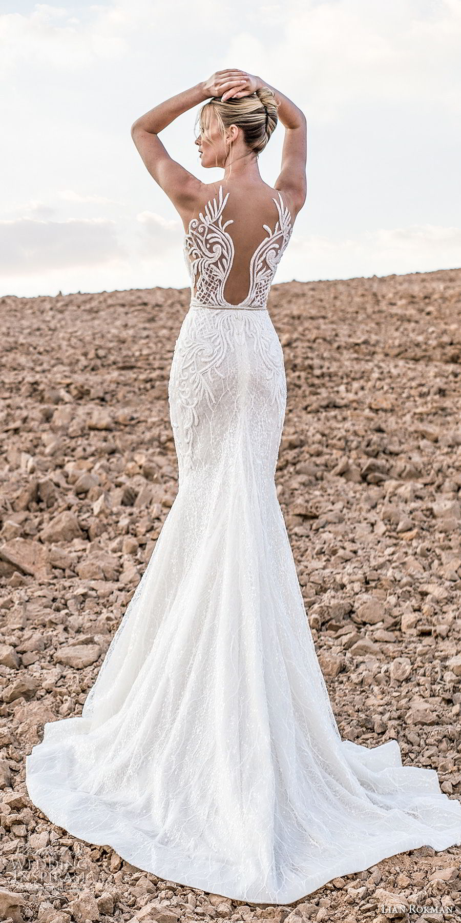 lian rokman 2017 bridal sleeveless deep plunging sweetheart neckline full embellishment elegant trumpet wedding dress lace back chapel train (zircon) bv