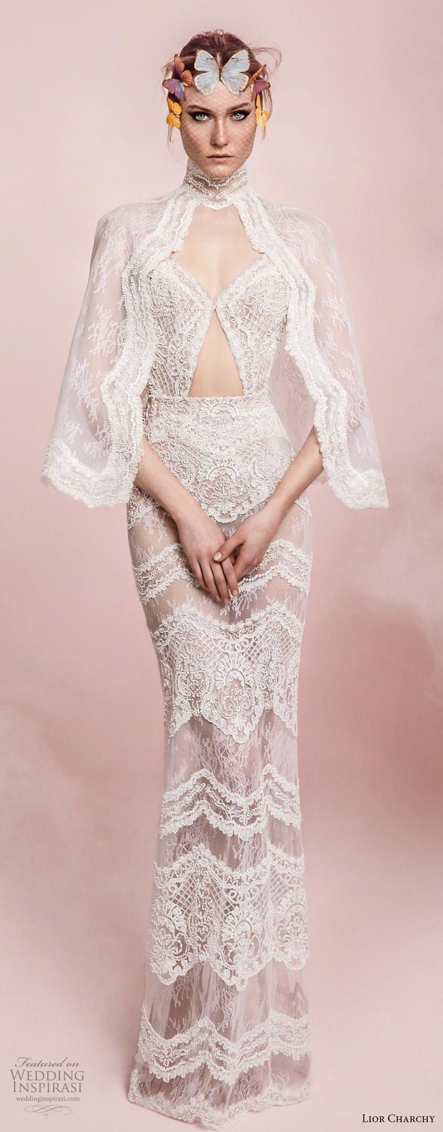 lior charchy spring 2017 bridal angel sleeves high neck sweetheart neck full embellishment elegant sexy sheath wedding dress (7) mv