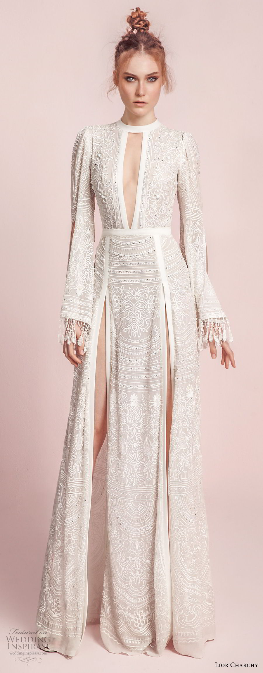 lior charchy spring 2017 bridal long bell sleeves keyhole neck full embellishment double side slit elegant sexy a line wedding dress sweep train (10) mv