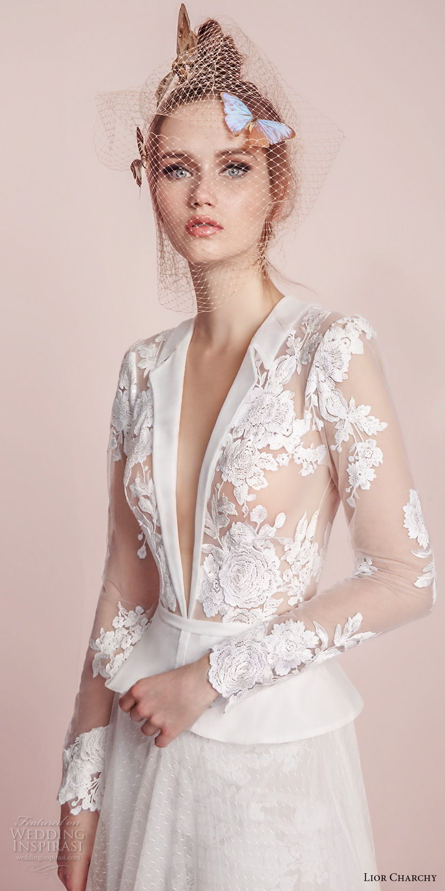 lior charchy spring 2017 bridal long sleeves deep plunging v neck heavily embellished lace bodice wedding dress top (13) mv