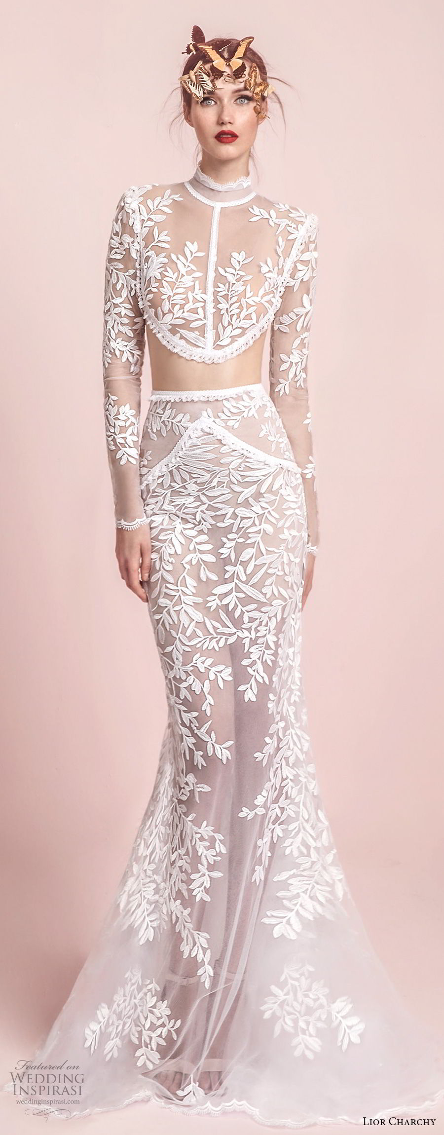 lior charchy spring 2017 bridal long sleeves high neck heavily embellished bodice crop top sexy chic fit and flare mermaid wedding dress sheer lace back sweep train (9) mv